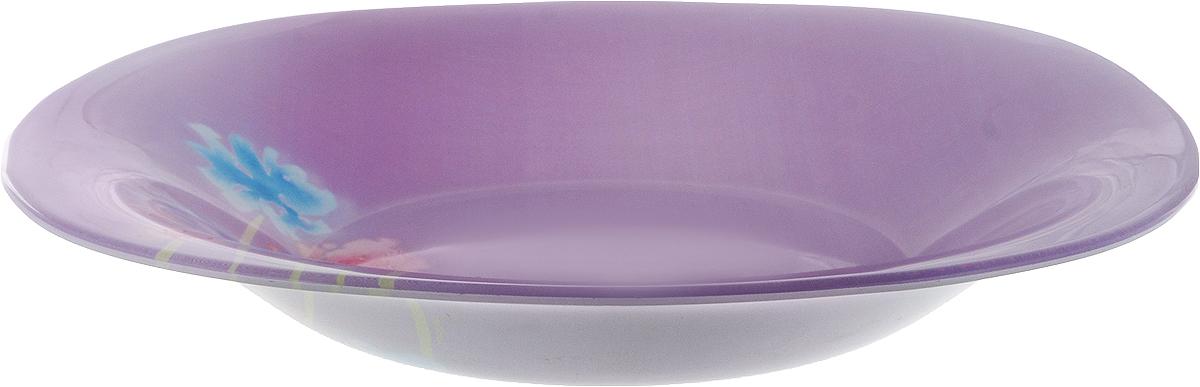 Тарелка суповая Luminarc Angel Purple, 20,5 х 20,5 см115510Суповая тарелка Luminarc Angel Purple выполнена из ударопрочного стекла и украшена изображением цветов. Изделие сочетает в себеизысканный дизайн с максимальной функциональностью. Она прекрасно впишется в интерьер вашей кухни и станет достойным дополнением к кухонному инвентарю. Тарелка Luminarc Angel Purple подчеркнет прекрасный вкус хозяйки и станет отличным подарком. Размер тарелки (по верхнему краю): 20,5 х 20,5 см.Высота тарелки: 3 см.
