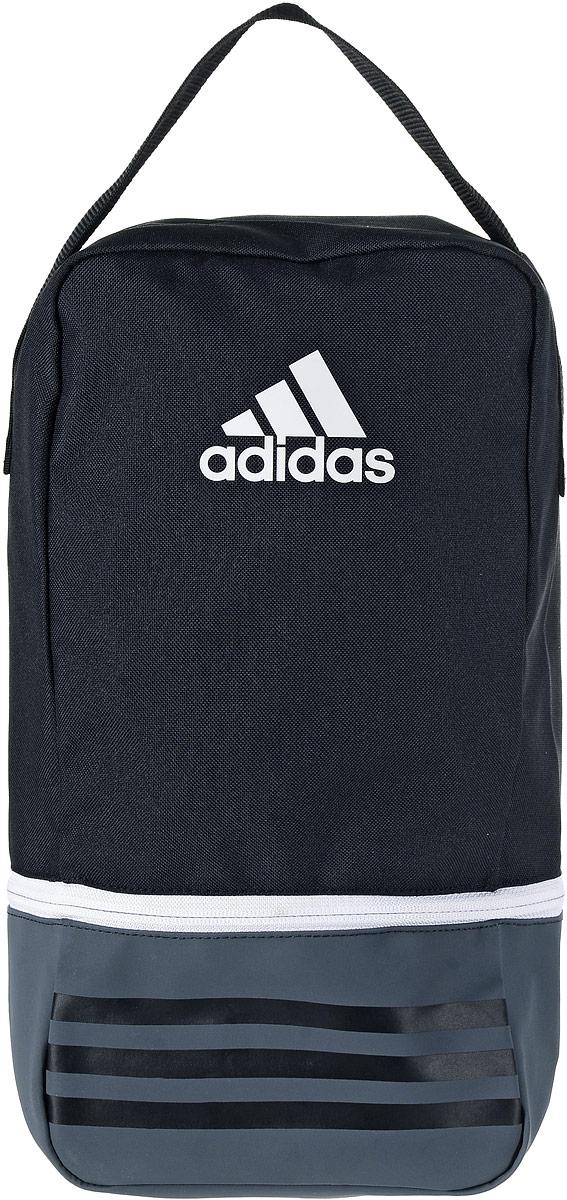 Сумка спортивная Adidas Tiro SB, цвет: черный, темно-серый, 23 л101225Небольшая, но вместительная спортивная сумка Adidas Tiro SB выполнена из полиэстера и полиэфира. Изделие имеет одно отделение, закрывающееся на застежку-молнию. Дно выполнено из более плотного материала с полиуретановым покрытием, что обеспечивает защиту от влаги. Сетчатая текстильная вставка обеспечивает естественную вентиляцию. Сумка оснащена удобной ручкой для переноски. Сумку можно носить как самостоятельно, так и использовать для организации внутреннего пространства больших сумок.