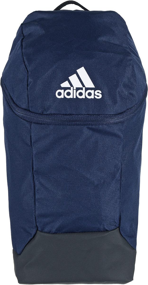 Сумка для обуви Adidas X SB 17.2, цвет: темно-синий, черныйS99034Стильная сумка для спортивной обуви Adidas X SB 17.2 выполнена из полиэстера. Изделие имеет одно отделение, которое закрывается на застежку-молнию. Дно выполнено из более плотного материала с полиуретановым покрытием, что обеспечивает защиту от влаги. Сумка оснащена удобной ручкой для переноски. В эту сумку отлично помещается пара футбольных бутс. Модель можно использовать для транспортировки обуви к месту тренировки или для организации внутреннего пространства больших спортивных сумок.