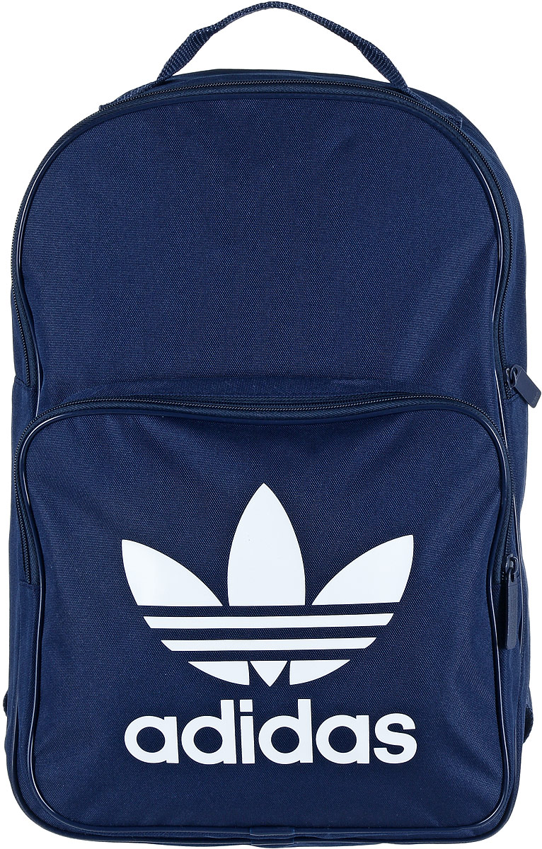 Рюкзак спортивный Adidas Trefoil, цвет: синий, 23 лГризлиСпортивный рюкзак Adidas Trefoil выполнен из полиэстера.Изделие имеет одно отделение, которое застегивается на застежку-молнию. Внутри находится вместительный накладной карман для ноутбука. Снаружи, на передней стенке расположен накладной карман на застежке-молнии, оформленный фирменным логотипом и названием бренда.Рюкзак оснащен широкими регулируемыми лямками и ручкой для переноски в руке.