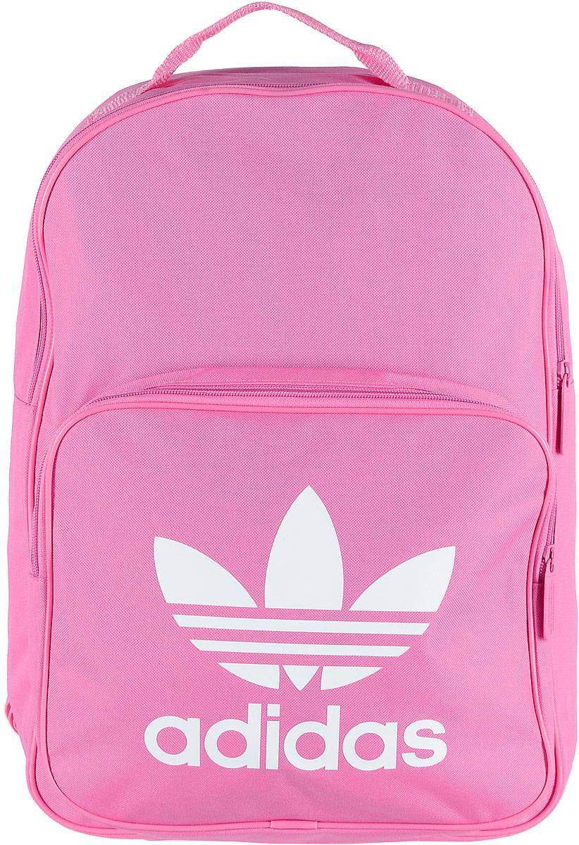 Рюкзак спортивный Adidas Trefoil, цвет: розовый, 23 лBK6725Спортивный рюкзак Adidas Trefoil выполнен из полиэстера.Изделие имеет одно отделение, которое застегивается на застежку-молнию. Внутри находится вместительный накладной карман для ноутбука. Снаружи, на передней стенке расположен накладной карман на застежке-молнии, оформленный фирменным логотипом и названием бренда.Рюкзак оснащен широкими регулируемыми лямками и ручкой для переноски в руке.