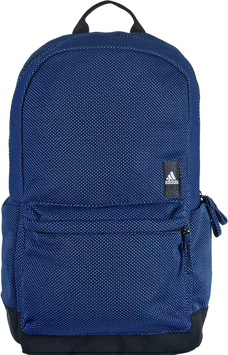 Рюкзак спортивный Adidas Classic, цвет: черный, синий332515-2800Спортивный рюкзак Adidas Classic выполнен из полиэстера. Основание изделия имеет покрытие из термополиуретана, которое предотвращает проникновение воды и грязи. Изделие имеет одно отделение, которое застегивается на застежку-молнию. Внутри находится вместительный накладной карман. Снаружи, на передней стенке расположен накладной объемный карман на застежке-молнии, по бокам - накладные открытые карманы.Рюкзак оснащен широкими регулируемыми лямками и ручкой для переноски в руке. Спинка и лямки с внутренней стороны имеют мягкую сетчатую подкладку, которая обеспечивает проникновение воздуха.