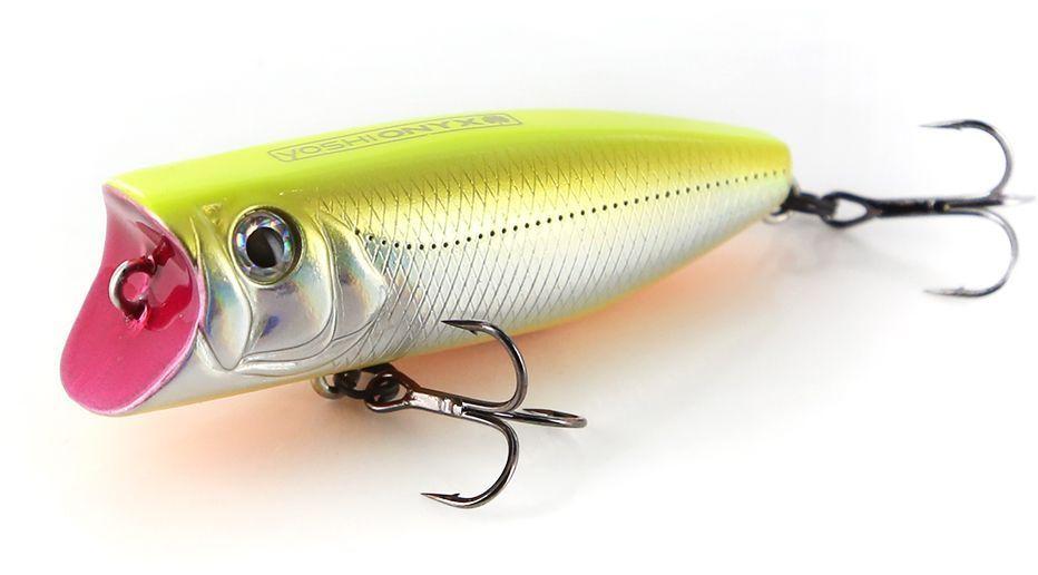 Воблер Yoshi Onyx Pop 60, цвет: желтый, стальной, 6 см, 8,7 г96487Уловистый воблер Yoshi Onyx Pop 60 - это поверхностная приманка универсального размера. Толстенький поппер пришелся по вкусу окуню, жереху и щуке. Он способен спровоцировать даже пассивную рыбу. Благодаря мощной плевалке, хищник услышит приманку с больших расстояний, сам покинет укрытие и найдет приманку. Воблер оснащается двумя острыми и надежными тройными крючками Owner, на которые отлично ловится хищная рыба наших водоемов.