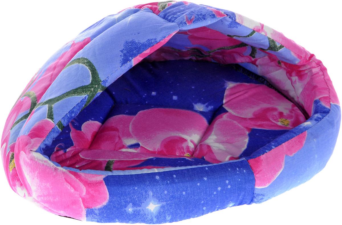 Лежак для животных Elite Valley Лукошко, цвет: синий, розовый, 40 х 30 х 26 см. Л-13/1 сумка переноска для животных elite valley конфетки 40 х 25 х 27 см