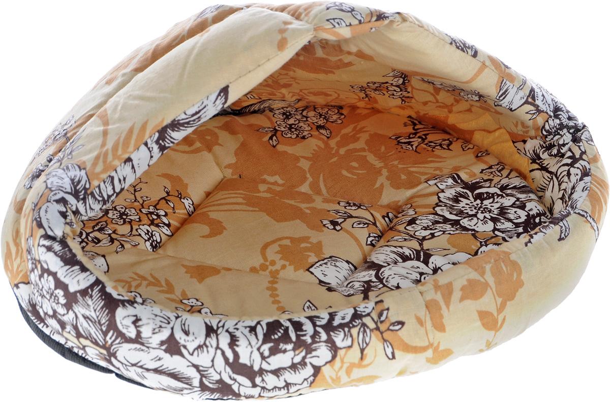 Лежак для животных Elite Valley Лукошко, цвет: бежевый, белый, 40 х 30 х 26 см. Л-13/10120710Лежак полузакрытый лукошко _ прованс бежевый, материал бязь, поролон