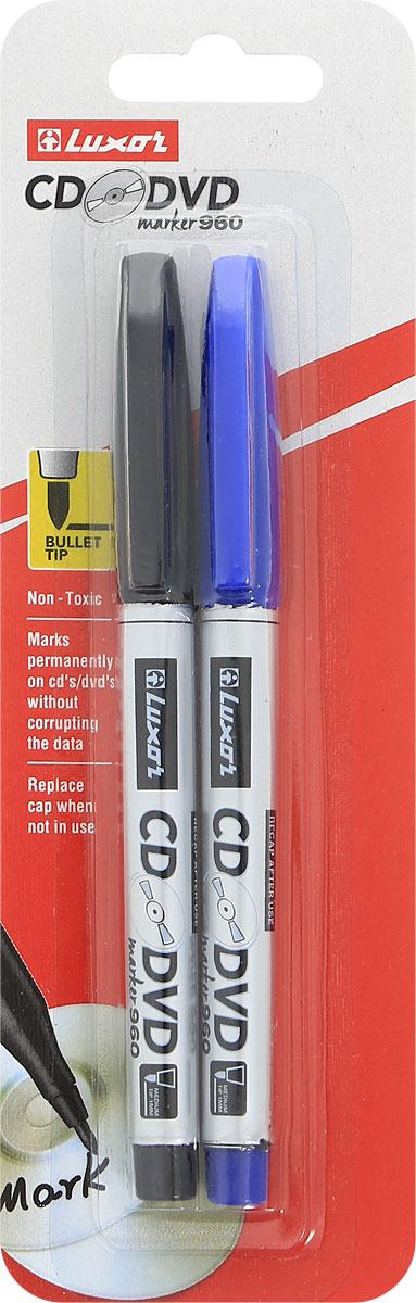 Luxor Набор маркеров CD/DVD цвет синий черный 2 шт72523WDНабор маркеров Luxor CD/DVD подойдет для письма и надписей на разных дисках, на различных видах бумаги и станет незаменимым атрибутом для работы.В набор входят 2 маркера синего и черного цвета с толщиной линии 1 мм.Маркеры с износоустойчивыми наконечниками и перманентными чернилами прослужат долгое время в использовании.