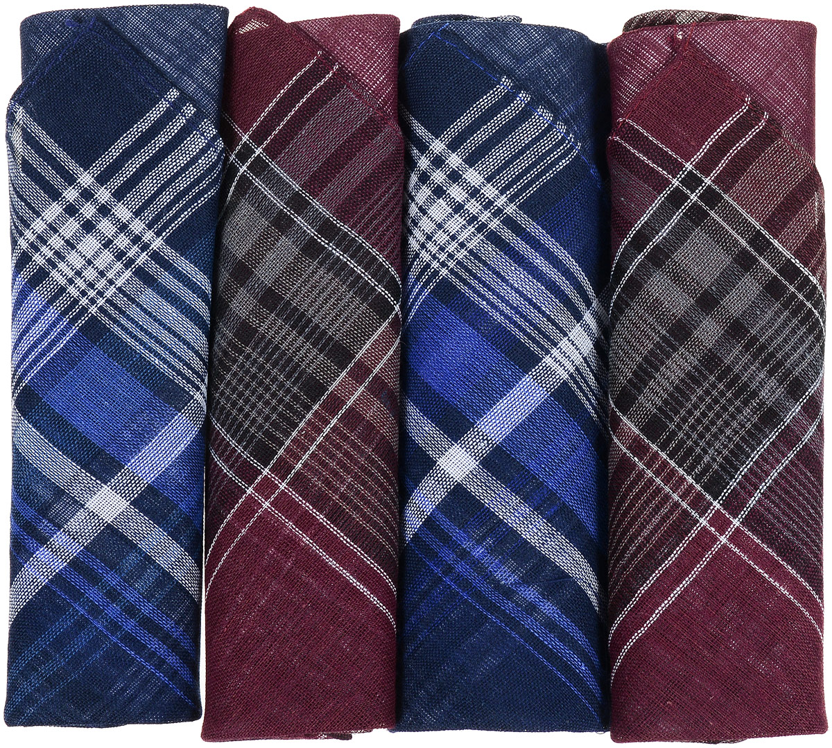 Платок носовой мужской Zlata Korunka, цвет: темно-синий, бордовый. 67002. Размер 34 х 34 см, 4 штСерьги с подвескамиНосовой платок Zlata Korunka изготовлен из высококачественного натурального хлопка, благодаря чему приятен в использовании, хорошо стирается, не садится и отлично впитывает влагу. Практичный носовой платок будет незаменим в повседневной жизни любого современного человека. Такой платок послужит стильным аксессуаром и подчеркнет ваше превосходное чувство вкуса. В комплекте 4 платка.