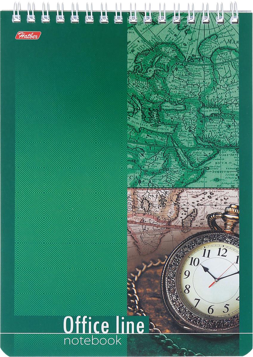 Hatber Блокнот Office Line 60 листов в клетку72523WDБлокнот Hatber Office Line - незаменимый атрибут современного человека, необходимый для рабочих и повседневных записей в офисе и дома.Фронтальная часть обложки выполнена из картона и оформлена изображением часов на зеленом фоне. Тыльная обложка выполнена из плотного картона, что позволяет делать записи на весу. Внутренний блок состоит из 60 листов белой бумаги. Стандартная линовка в голубую клетку без полей. Листы блокнота соединены металлическим гребнем.