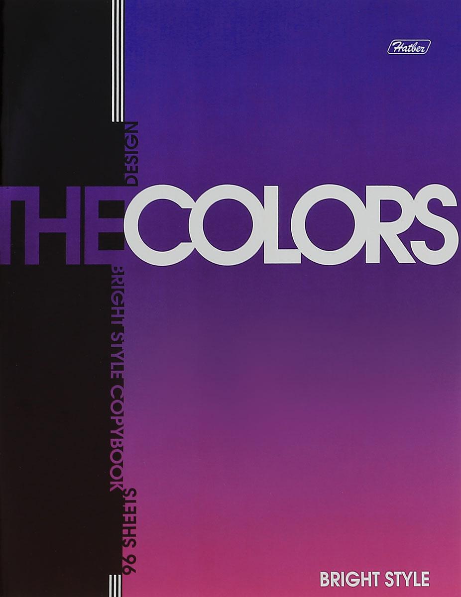 Hatber Тетрадь The Colors 96 листов в клетку цвет фиолетовый72523WDТетрадь Hatber The Colors отлично подойдет для занятий школьнику, студенту или для различных записей.Обложка, выполненная из плотного металлизированного картона, украшена изображением английских букв.Внутренний блок тетради, соединенный металлическими скрепками, состоит из 96 листов белой бумаги в голубую клетку с полями.