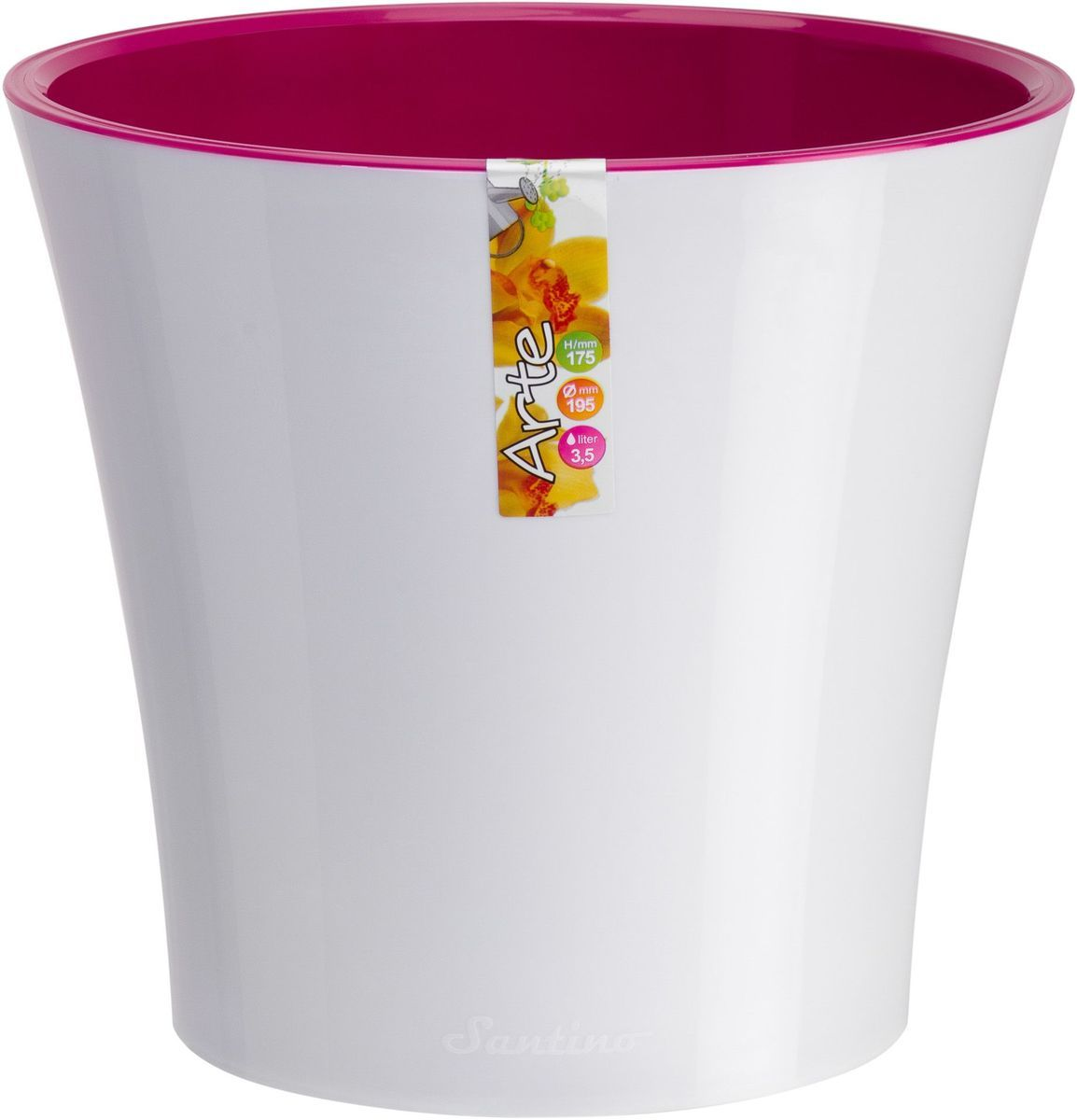 Горшок цветочный Santino Арте, двойной, с системой автополива, цвет: белый, лиловый, 2 л1195203Горшок цветочный Santino Арте снабжен дренажной системой и состоит из кашпо и вазона-вкладыша. Изготовлен из пластика. Особенность: тарелочка или блюдце не нужны. Горшок предназначен для любых растений или цветов. Цветочный дренаж – это система, которая позволяет выводить лишнюю влагу через корневую систему цветка и слой почвы. Растение – это живой организм, следовательно, ему необходимо дышать. В доступе к кислороду нуждаются все части растения: -листья; -корневая система. Если цветовод по какой-либо причине зальет цветок водой, то она буквально вытеснит из почвенного слоя все пузырьки кислорода. Анаэробная среда способствует развитию различного рода бактерий. Безвоздушная среда приводит к загниванию корневой системы, цветок в результате увядает. Суть работы дренажной системы заключается в том, чтобы осуществлять отвод лишней влаги от растения и давать возможность корневой системе дышать без проблем. Следовательно, каждому цветку необходимо: -иметь в основании цветочного горшочка хотя бы одно небольшое дренажное отверстие. Оно необходимо для того, чтобы через него выходила лишняя вода, плюс ко всему это отверстие дает возможность циркулировать воздух. -на самом дне горшка необходимо выложить слоем в 2-5 см (зависит от вида растения) дренаж.УВАЖАЕМЫЕ КЛИЕНТЫ!Обращаем ваше внимание на тот факт, что фото изделия служит для визуального восприятия товара. Литраж и размеры, представленные на этикетке товара, могут по факту отличаться от реальных. Корректные данные в поле Размеры.
