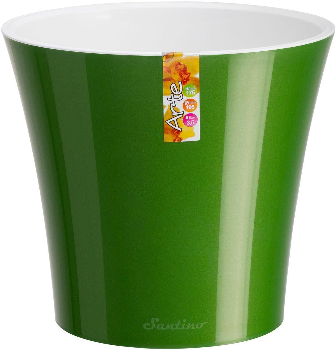 Горшок цветочный Santino Арте, двойной, с системой автополива, цвет: зеленое золото, белый, 3,5 л531-109Горшок цветочный Santino Арте снабжен дренажной системой и состоят из кашпо и вазона-вкладыша. Изготовлен из пластика.Особенность: тарелочка или блюдце не нужны.Горшок предназначен для любых растений или цветов. Цветочный дренаж – это система, которая позволяет выводить лишнюю влагу через корневую систему цветка и слой почвы. Растение – это живой организм, следовательно, ему необходимо дышать. В доступе к кислороду нуждаются все части растения: -листья; -корневая система.Если цветовод по какой-либо причине зальет цветок водой, то она буквально вытеснит из почвенного слоя все пузырьки кислорода. Анаэробная среда способствует развитию различного рода бактерий. Безвоздушная среда приводит к загниванию корневой системы, цветок в результате увядает.Суть работы дренажной системы заключается в том, чтобы осуществлять отвод лишней влаги от растения и давать возможность корневой системе дышать без проблем. Следовательно, каждому цветку необходимо:-иметь в основании цветочного горшочка хотя бы одно небольшое дренажное отверстие. Оно необходимо для того, чтобы через него выходила лишняя вода, плюс ко всему это отверстие дает возможность циркулировать воздух.-на самом дне горшка необходимо выложить слоем в 2-5 см (зависит от вида растения) дренаж.