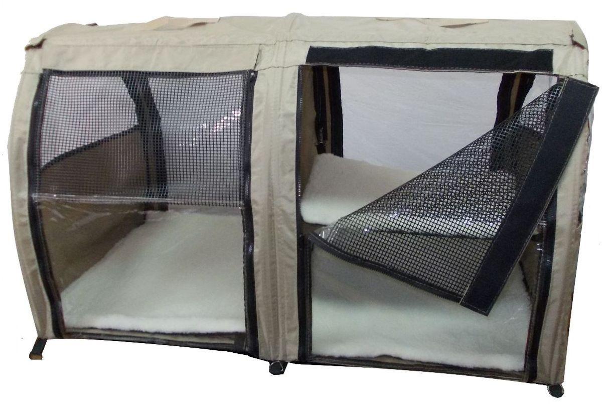 Клетка-палатка для животных Заря-Плюс, выставочная, цвет: бежевый, 101 х 58 х 54 см. КВП20120710Большая полукруглая выставочная клетка Заря-Плюс станет настоящей находкой для владельцев нескольких кошек и котят. В этой палатке найдется место всем вашим питомцам. Эта выставочная палатка продумана таким образом, чтобы вам было максимально удобно участвовать в выставках:- собирается круговым движением, как трансформер, легко и просто; на выставке вы самостоятельно соберете и разберете палатку за считанные минуты;- лицевая сторона палатки выполнена из пленки, которая может полностью отстегиваться;- обратная сторона палатки выполнена наполовину из сетки, наполовину из пленки; также может полностью отстегиваться;- боковые стенки выполнены наполовину из пленки, благодаря чему палатка становится очень светлой. И вы сможете в максимально выгодном свете представить на выставке своих питомцев:- в комплект входит дополнительная шторка на липучке; при необходимости вы можете закрыть шторкой окно, чтобы ваши питомцы могли отдохнуть; - если у вас возникнет необходимость разделить пространство палатки на 2 части, вы можете просто и легко сделать это, застегнув на молнию разделительную перегородку посередине; - с двух сторон палатки имеются вместительные карманы, куда вы можете положить все необходимые мелочи для участия в выставке;- в собранном виде палатка довольно компактна; при хранении занимает мало места;- палатка переносится в чехле, который входит в комплект;- для удобной переноски чехол имеет короткую и длинную ручки, также чехол имеет большой карман на молнии для различных мелочей; - в комплект входит 2 меховых матраца и меховой гамак.