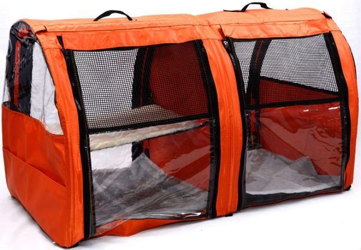 Клетка для животных Заря-Плюс, выставочная, цвет: оранжевый, 101 х 58 х 54 см. КВП2К-10/1_бабочки на розовомБольшая полукруглая выставочная клетка Заря-Плюс станет настоящей находкой для владельцев нескольких кошек и котят. В этой палатке найдется место всем вашим питомцам. Эта выставочная палатка продумана таким образом, чтобы вам было максимально удобно участвовать в выставках:- собирается круговым движением, как трансформер, легко и просто; на выставке вы самостоятельно соберете и разберете палатку за считанные минуты;- лицевая сторона палатки выполнена из пленки, которая может полностью отстегиваться;- обратная сторона палатки выполнена наполовину из сетки, наполовину из пленки; также может полностью отстегиваться;- боковые стенки выполнены наполовину из пленки, благодаря чему палатка становится очень светлой. И вы сможете в максимально выгодном свете представить на выставке своих питомцев.- в комплект входит дополнительная шторка на липучке; при необходимости вы можете закрыть шторкой окно, чтобы ваши питомцы могли отдохнуть; - если у вас возникнет необходимость разделить пространство палатки на 2 части, вы можете просто и легко сделать это, застегнув на молнию разделительную перегородку посередине; - с двух сторон палатки имеются вместительные карманы, куда вы можете положить все необходимые мелочи для участия в выставке;- в собранном виде палатка довольно компактна; при хранении занимает мало места;- палатка переносится в чехле, который входит в комплект;- для удобной переноски чехол имеет короткую и длинную ручки, также чехол имеет большой карман на молнии для различных мелочей; - в комплект входит 2 меховых матраца и меховой гамак.