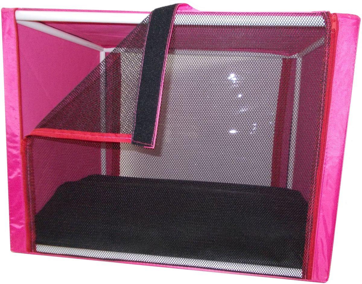 Клетка для животных Заря-Плюс, выставочная, цвет: малиновый, 76 х 56 х 56 см. КВР10120710Палатки для выставок продуманы таким образом, чтобы Вам было максимально удобно участвовать в выставках: - палатка имеет полукруглую форму за счет встроенного каркаса из дуг;- собирается круговым движением легко и просто; на выставке Вы самостоятельно соберете и разберете палатку за считанные минуты;- лицевая сторона палатки выполнена из пленки, которая может полностью отстегиваться;- обратная сторона палатки выполнена наполовину из сетки, наполовину из пленки; также может полностью отстегиваться;- боковые стенки выполнены наполовину из пленки, благодаря чему палатка становится очень светлой.И Вы сможете в максимально выгодном свете представить на выставке своих питомцев!- с двух сторон палатки имеются вместительные карманы, куда Вы можете положить все необходимое для участия в выставке;- в собранном виде палатка довольно компактна, при хранении занимает мало места;- палатка переносится в чехле, который входит в комплект;- для удобной переноски чехол имеет короткую и длинную ручки; чехол имеет один большой карман на молнии;- ОБРАТИТЕ ВНИМАНИЕ! В комплект входит меховой матрац и гамак.