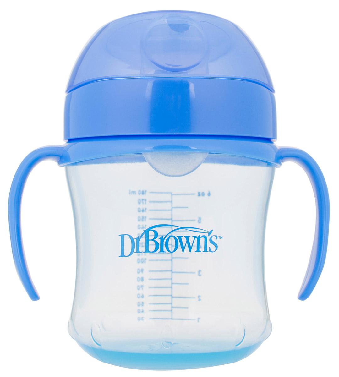 Dr.Brown's Поильник-непроливайка с мягким носиком от 6 месяцев цвет синий 180 мл