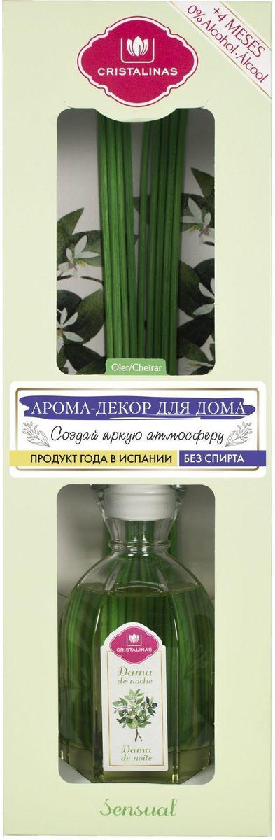Арома-диффузор Cristalinas Mikado, для жилых помещений, с ароматом ночного жасмина, 180 мл106-026Арома-диффузор Cristalinas Mikado для жилых помещений с ароматом ночного жасмина создаст расслабляющую атмосферу в доме. Аромат будет распространяться и заполнять помещение плавно и равномерно, будто обволакивая его. Арома-диффузор наполнит помещение приятным ароматом на 16 недель и вам всегда будет особенно хотеться возвращаться домой. Способ применения: 1. Снимите крышку.2. Разместите все ротанговые палочки и расправьте в форме веера.3. Подождите пару часов пока палочки пропитаются ароматом.4. Для более интенсивного запаха можно перевернуть палочки.5. Интенсивность запаха может варьироваться в зависимости от количества размещённых палочек.Способ хранения: хранить в недоступном для детей месте. Меры предосторожности: не употреблять внутрь. Не разбавлять с водой или другими маслами. Использовать только специальные сменные блоки. Не вставлять другие палочки, так они не будут поглощать аромат. Избегать попадания в глаза и прямого контакта с кожей. Токсичный для водных организмов с долгосрочными последствиями. При контакте с кожей тщательно промыть ее проточной водой с мылом. При попадании в глаза аккуратно промыть их водой в течение нескольких минут. Состав: дельта-дамаскон, линалоол, земляничный альдегид.