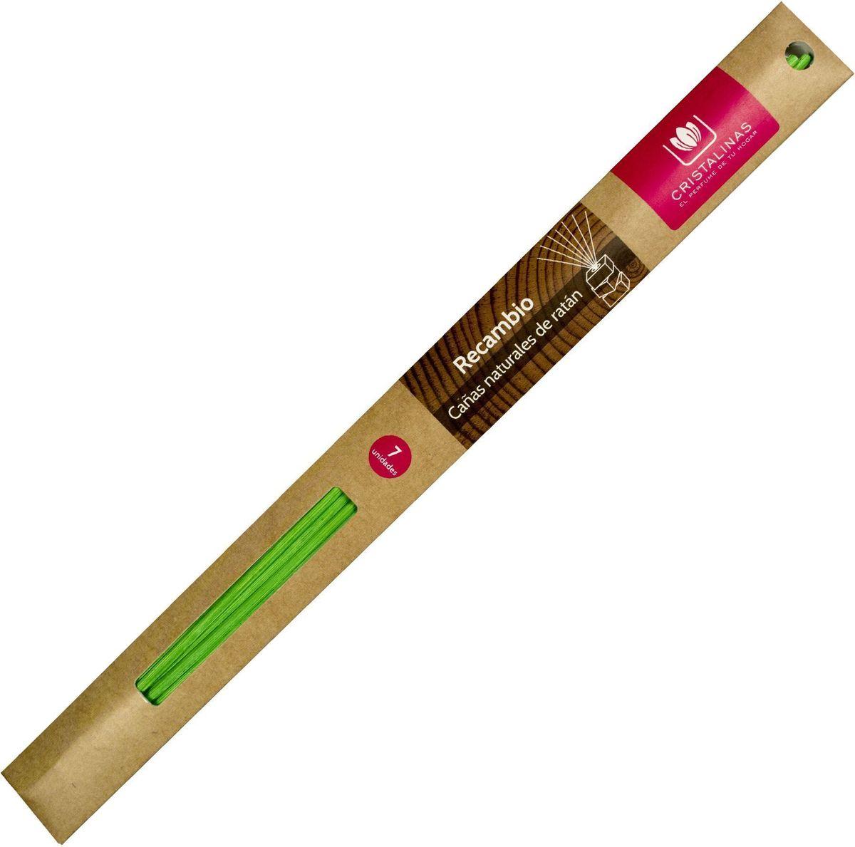 Палочки ротанговые Cristalinas Natural Wood, цвет: зеленый, 7 шт.10503Главный атрибут любого арома-диффузора – это ротанговые палочки. Благодаря их особой пористой структуре ароматическое масло хорошо впитывается, затем поднимается из флакона вверх, наполняя помещение приятным ароматом. Можно использовать разное количество палочек, регулируя интенсивность аромата. Ротанговые палочки Cristalinas созданы из натурального дерева. Способ применения: поместить необходимое количество ротанговых палочек во флакон. Рекомендуется периодически переворачивать палочки для повышения интенсивности аромата. Состав: материал – ротанг.
