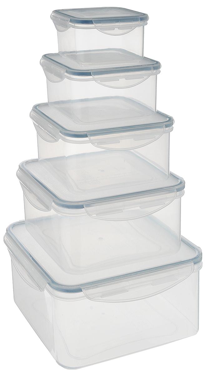 Набор контейнеров Tescoma Freshbox, 5шт. 892044FA-5125 WhiteНабор Tescoma Freshbox состоит из 5 контейнеров, которые изготовлены из высококачественного пластика. Изделия идеально подходят не только для хранения, но и для транспортировки пищи. Контейнеры имеют крышки, которые плотно закрываются на 2 защелки и оснащены специальными силиконовыми прослойками. Поэтому контейнер подходит для хранения не только пищи, но и жидкости. Изделие подходит для домашнего использования, для пикников, поездок, отдыха на природе, его можно взять с собой на работу или учебу. Можно использовать в СВЧ-печах, холодильниках, посудомоечных машинах, морозильных камерах.Размер контейнера на 0,4 литра (без учета крышки): 10 х 10 x 5,5 см.Размер контейнера на 0,7 литра (без учета крышки): 12 х 12 x 6,5 см.Размер контейнера на 1,2 литра (без учета крышки): 14,5 х 14,5 x 7,5 см.Размер контейнера на 2 литра (без учета крышки): 17 х 17 x 8,5 см.Размер контейнера на 3 литра (без учета крышки): 20 х 20 x 9,5 см.