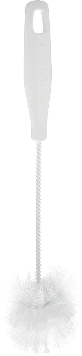 Щетка для посуды Tescoma CleanKit, длина 30,5 см106-026Ершик Tescoma CleanKit предназначен для мытья посуды. Изделие оснащено жесткой прочной щетиной, выполненной из высококачественного термостойкого нейлона и закрепленной на металлическом крученом стержне. Эргономичная рукоятка, изготовленная из пластика, оснащена отверстием для подвешивания. Длина щетки: 30,5 см.Размер рабочей части: 7 х 7 х 8 см.