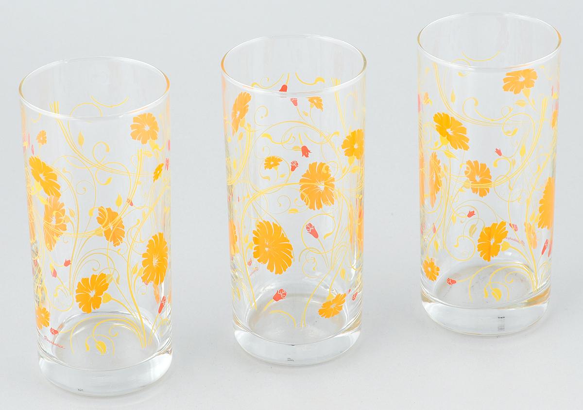 Набор стаканов Pasabahce Workshop Serenade, цвет: оранжевый, 287 мл, 3 штVT-1520(SR)Набор Pasabahce Workshop Serenade, выполненный из закаленного натрий-кальций-силикатного стекла, состоит из трех стаканов. Изделия украшены цветочным узором и прекрасно подойдут для подачи холодных напитков. Их оценят как любители классики, так и те, кто предпочитает современный дизайн.Набор идеально подойдет для сервировки стола и станет отличным подарком к любому празднику. Диаметр стакана (по верхнему краю): 6 см. Высота стакана: 13,5 см.