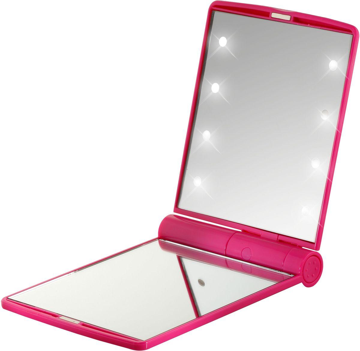 Flo Зеркало косметическое Led Celebrity Mirror, с LED-подсветкой, 2-х увеличение, цвет: фуксия28032022Двойное зеркало с LED-подсветкой из 8 светодиодов, удобной подставкой и одним зеркалом с 2-кратным увеличением для использования в малоосвещенных помещениях, самолетах. Материал: пластик, стекло, светодиодные лампы