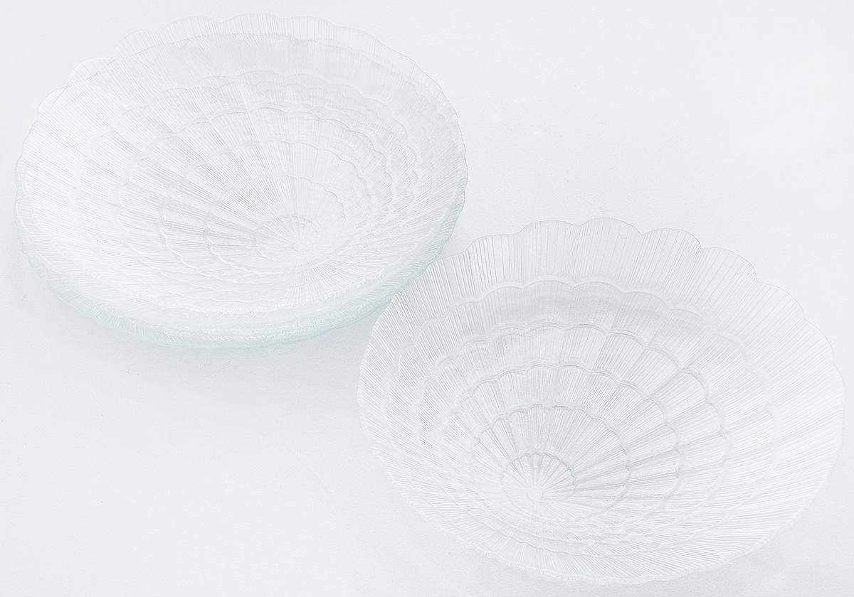 Набор тарелок Pasabahce Atlantis, диаметр 24 см, 6 шт115610Набор Pasabahce Atlantis состоит из шести тарелок, выполненных из высококачественного закаленного стекла. Они имеют оригинальную форму и декорированы рельефным узором. Тарелки прекрасно подойдут для красивой сервировки различных блюд. Оригинальность оформления тарелок придется по вкусу и ценителям классики, и тем, кто предпочитает утонченность и изящность. Набор тарелок Pasabahce Atlantis станет украшением вашего стола и послужит отличным подарком к любому празднику. Диаметр тарелки: 24 см. Высота тарелки: 2,5 см.