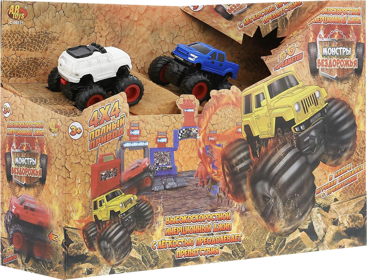 ABtoys Игрушечный трек Монстры бездорожья 56 предметов motormax игрушечный трек мини заправочная станция