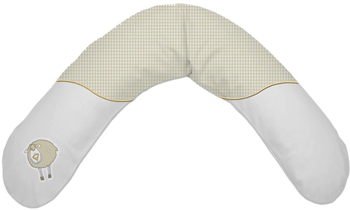 Theraline Подушка для кормящих и беременных Овечка цвет бежевый 190 см51013100Подушка для кормления Theraline Овечка необходима для беременных и кормящих мам во время сна и отдыха. Подушка наполнена шариками из полистирола размером 0,5 мм. Они практически невесомые, не вызывают аллергии и ничем не пахнут. Наполнитель принимает форму тела, обеспечивая надежную опору. Он безопасный для здоровья беременной и совершенно бесшумный. В качестве материала для наволочек используется высококачественный 100% хлопок, нежный и мягкий. Он не линяет и не деформируется во время стирки, сохраняет свой первоначальный вид в течение долгих лет. Подушка обеспечивает максимум комфорта во время беременности. Специальная форма подушки позволяет легко и безопасно менять положение тела. С ее помощью можно обеспечить комфортный отдых ногам, а также удобно устроиться на боку. Также такая подушка позволит просто отдохнуть. Расположенная под животом или спиной она помогает лечь максимально комфортно и расслабить мышцы шеи, рук, а также снять нагрузку с позвоночной системы. С помощью подушки Theraline можно безопасно и удобно положить малыша и, мягко поддерживая его, легко менять угол своего тела. С этой подушкой кормление станет еще более приятным как для ребенка, так и для мамочки, которая теперь сможет удобно сидеть или лежать, кормя грудью. Подушка также может использоваться в гимнастике и играх. Это надежный барьер, который не даст упасть малышу, когда он находится на кровати или диване. Она обеспечит дополнительный комфорт во время сна и может быть использована в качестве опоры, когда ребенок начнет садиться сам.