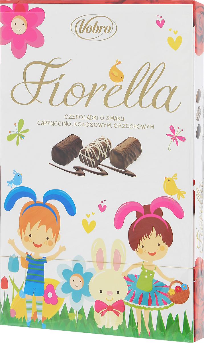 Vobro Fiorella набор шоколадных конфет, 140 г0120710Vobro Fiorella - это 3 дополнительных вкуса, создающих набор, который не надоест. Под деликатным шоколадом скрыт вкус кокоса, ореха и капучино. Пралине доступны в трех различных графических упаковках. Такая коробка конфет будет идеальным подарком вместо одних цветов. Такой набор, несомненно, порадует каждую женщину.