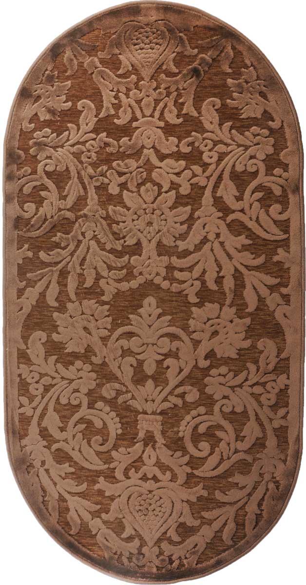 Ковер ART Carpets Платин, овальный, цвет: коричневый, 80 х 150 см531-105Ковер ART Carpets Платин изготовлен из 100% акрила. Структура волокна гладкая, поэтому грязь не будет въедаться и скапливаться на ворсе. Практичный и Физносоустойчивый ворс не истирается и не накапливает статическое электричество. Ковер обладает хорошими показателями теплостойкости и шумоизоляции. Оригинальный рисунок позволит гармонично оформить интерьер комнаты, гостиной или прихожей. За счет невысокого ворса ковер легко чистить. При надлежащем уходе ковер прослужит долго, не утратив ни яркости узора, ни блеска ворса, ни упругости. Самый простой способ избавить изделие от грязи - пропылесосить его с обеих сторон (лицевой и изнаночной). Хранить рекомендуется в свернутом рулоном виде.
