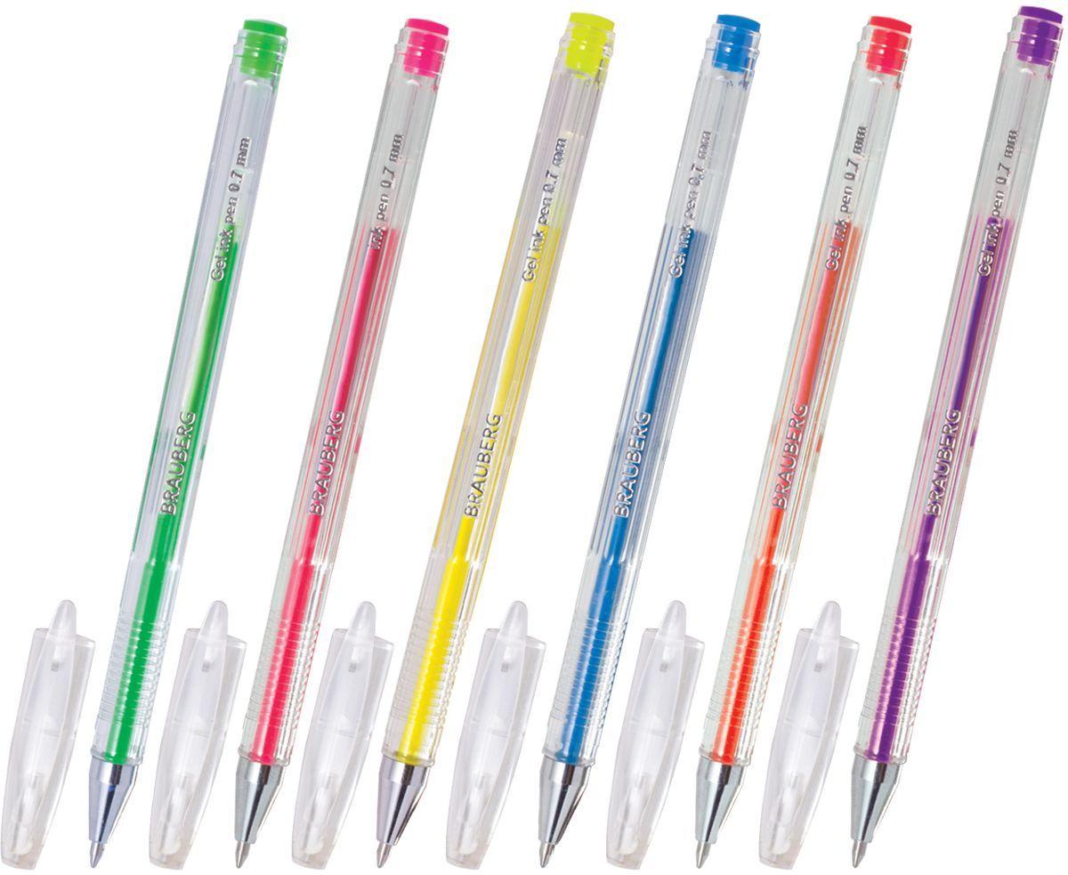 Brauberg Набор гелевых ручек Jet неоновые 6 шт72523WDНабор Brauberg Jet включает в себя гелевые ручки различных неоновых цветов. Рекомендован для детского творчества. Цвет корпуса прозрачный с деталями в цвет чернил. Ручки упакованы в мягкий пластиковый футляр.