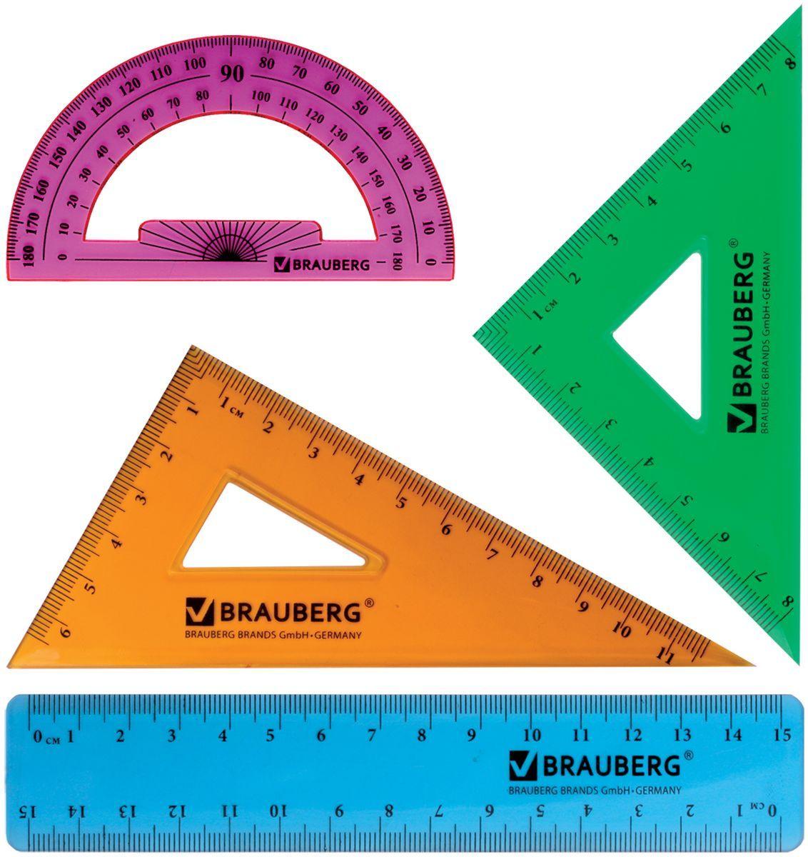 Brauberg Набор чертежный Сrystal 210295210295Набор геометрический Brauberg Сrystal из яркого, прочного пластика толщиной 1,7 - 2 мм. Предназначен для чертёжных работ.Набор включает в себя четыре предмета: линейка со шкалами 15 см/15 см, треугольник с углами 30°/60° и шкалами 11,6 см/6,5 см, треугольник с углами 45°/45° и шкалами 8 см/8 см, транспортир 180°.