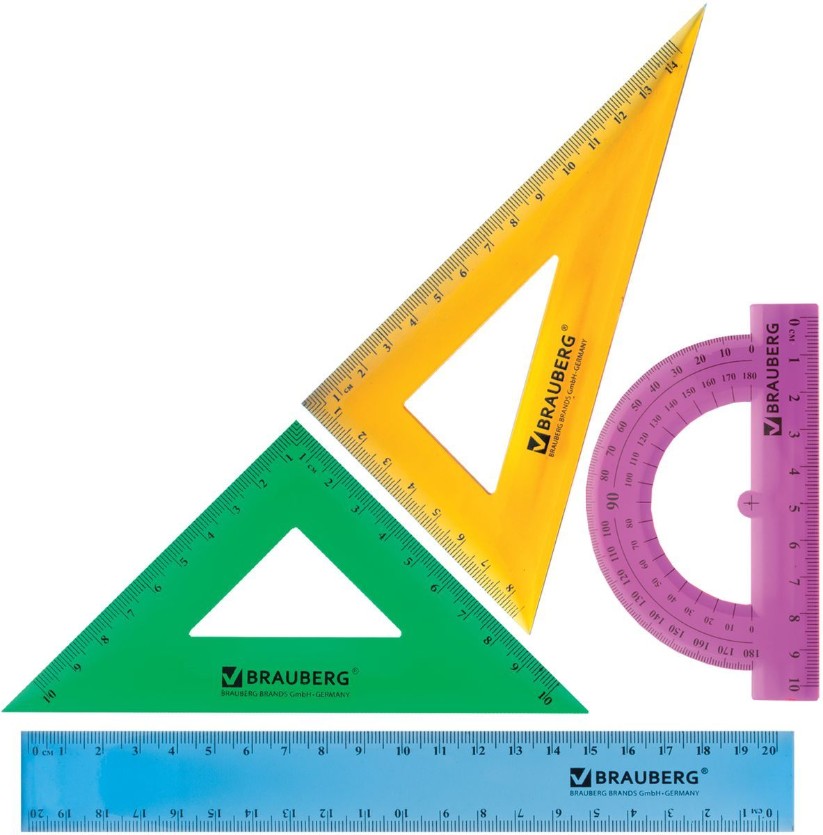 Brauberg Набор чертежный Сrystal 21029655060BKНабор геометрический Brauberg Сrystal из яркого, прочного пластика толщиной 1,6 - 2 мм. Предназначен для чертёжных работ.Набор включает в себя четыре предмета: линейка со шкалами 20 см/20 см, треугольник с углами 30°/60° и шкалами 14,5 см/8,5 см, треугольник с углами 45°/45° и шкалами 10 см/10 см, транспортир 180°.