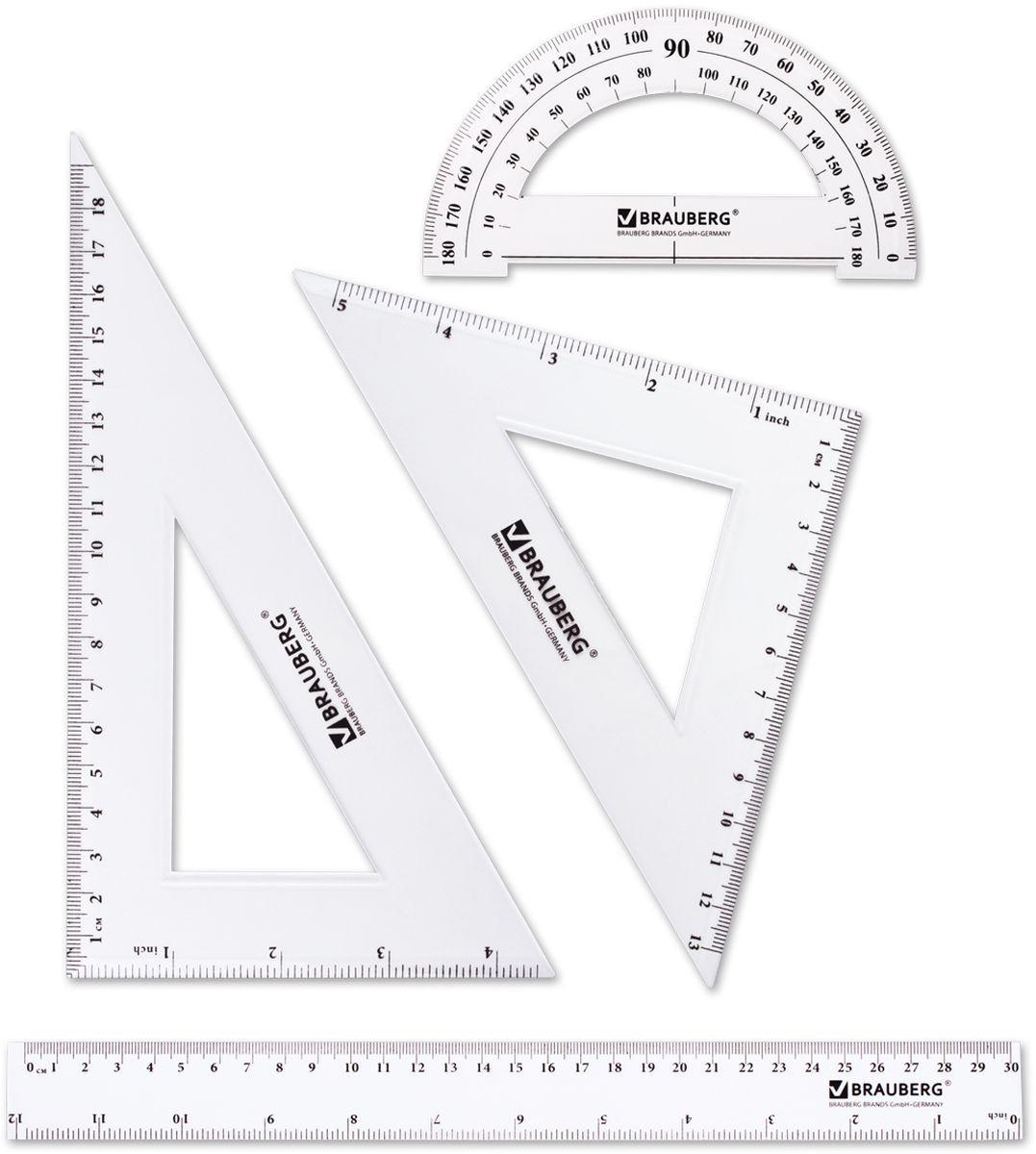 Brauberg Набор чертежный 4 предмета 210308FS-00103Набор геометрический Brauberg из прозрачного, прочного пластика толщиной 2 мм. Предназначен для чертёжных работ.Набор включает в себя четыре предмета: линейка со шкалами 30 см/12, треугольник с углами 30°/60° и шкалами 19 см/4, треугольник с углами 45°/45° и шкалами 13 см/5, транспортир 180°.