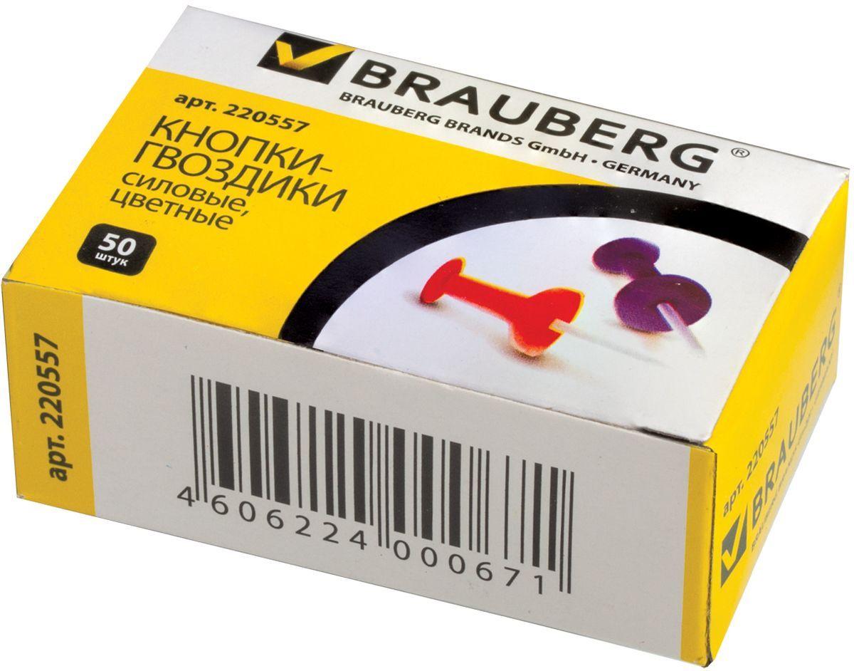 Brauberg Кнопки силовые 50 шт 22055772523WDСиловые кнопки Brauberg предназначены для создания отметок на картах и для крепления информации к пробковым доскам.Корпус кнопок - гвоздиков изготовлен из цветного пластика, а острие изготовлено из стали.