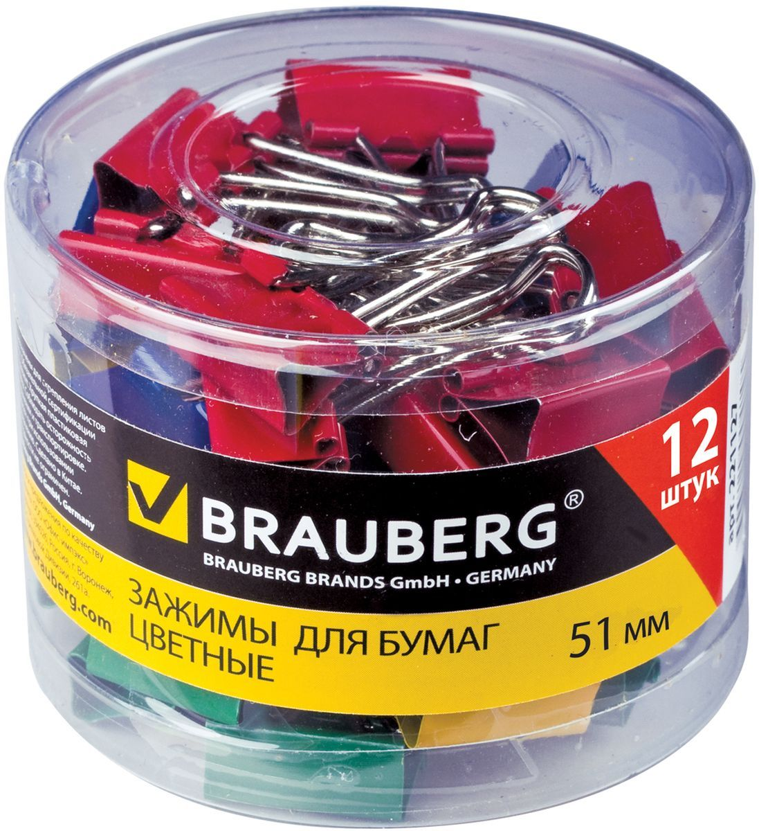 Brauberg Зажим для бумаг ширина 51 мм 12 штCS-MC400-106715Зажим для бумаг Brauberg предназначен для скрепления бумажных документов без использования степлера.В упаковке 12 зажимов разных цветов. Зажим выполнен из стали. Они надежно и легко скрепляют, не деформируют бумагу, не оставляют на ней следов.