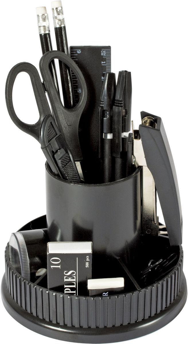 Staff Канцелярский набор Раунд эконом 12 предметовFS-00103Компактный канцелярский набор Staff Раунд эконом на вращающейся подставке предназначен для эффективной организации рабочего места.В набор входят: 2 ручки, 2 карандаша, степлер, стирательная резинка, линейка, скобы №10, скрепки, сожницы, канцелярский нож, точилка.