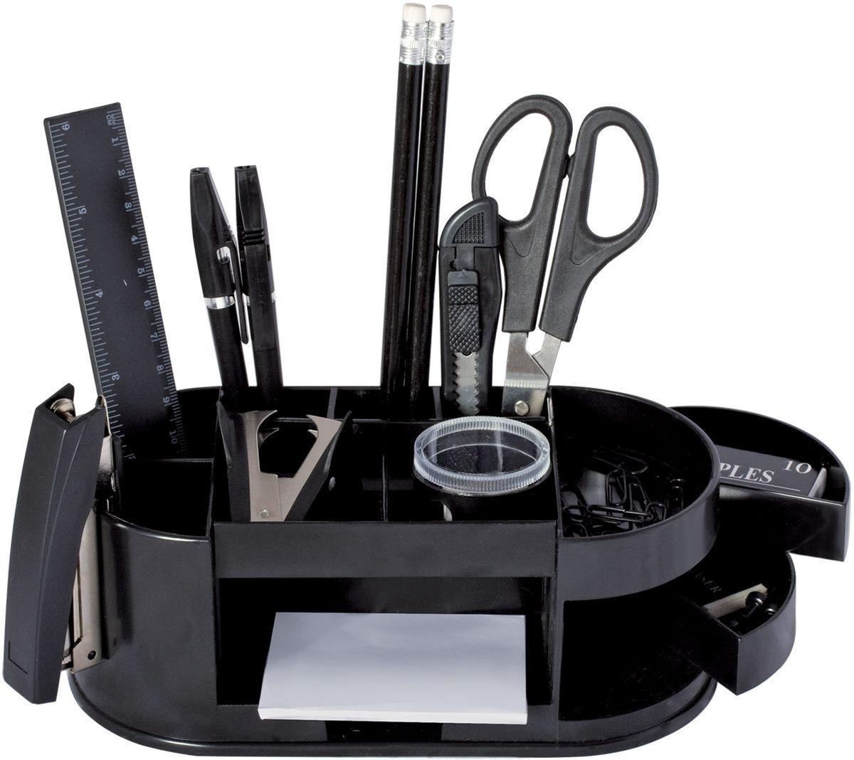 Staff Канцелярский набор Омега эконом 15 предметовFS-00103Настольный канцелярский набор Staff Омега эконом позволит эффективно организовать рабочее место.В набор входят: 2 ручки, 2 карандаша, степлер, антистеплер, бумага для заметок, стирательная резинка, скобы №10, скрепки, кнопки, ножницы, канцелярский нож, точилка, линейка.