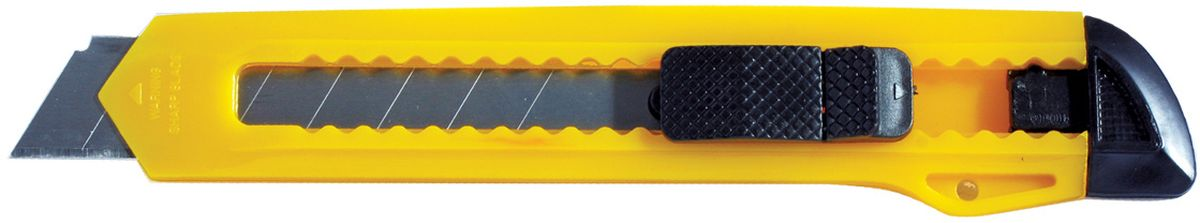 Erich Krause Нож канцелярский Standard цвет желтый 18 мм231613Канцелярский нож Erich Krause Standard предназначен для работы с бумагой, плотным картоном, пленкой и так далее. Корпус ножа выполнен из пластика. Выдвижное многосекционное лезвие изготовлено из высококачественной нержавеющей стали. Нож оснащен плоским ручным фиксатором и системой блокировки лезвия Push-Lock.