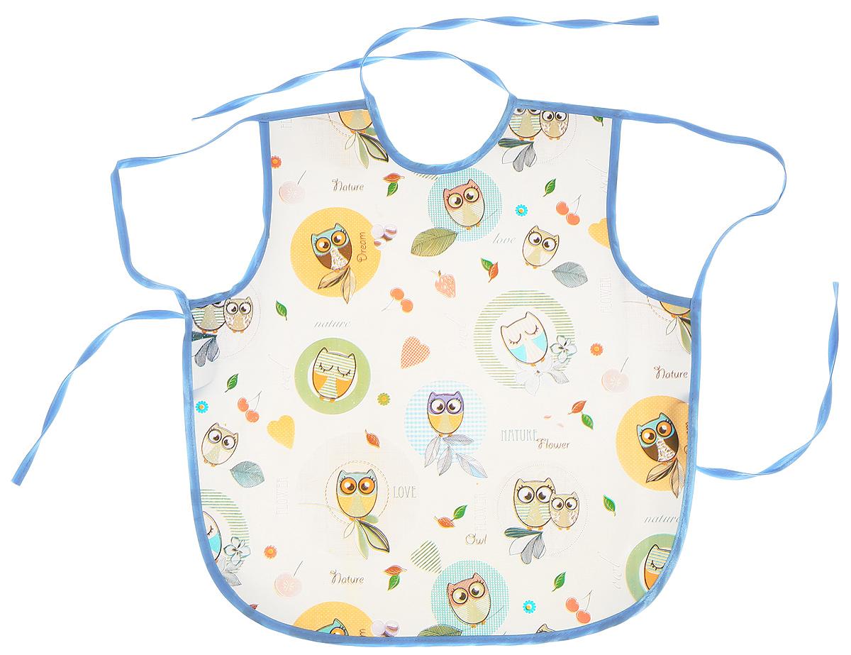 Фартук Колорит Совы с непромокаемым слоем защитит одежду ребенка во время занятий творчеством.Фартук на завязках - выбор практичных мамочек, так как им можно пользоваться более длительное время. Пока ваш малыш растет, благодаря завязкам вы сможете легко контролировать длину изделия и регулировать размер горловины. Фартук изготовлен из клеенки подкладной с ПВХ покрытием. Лицевая сторона оформлена забавным изображением.