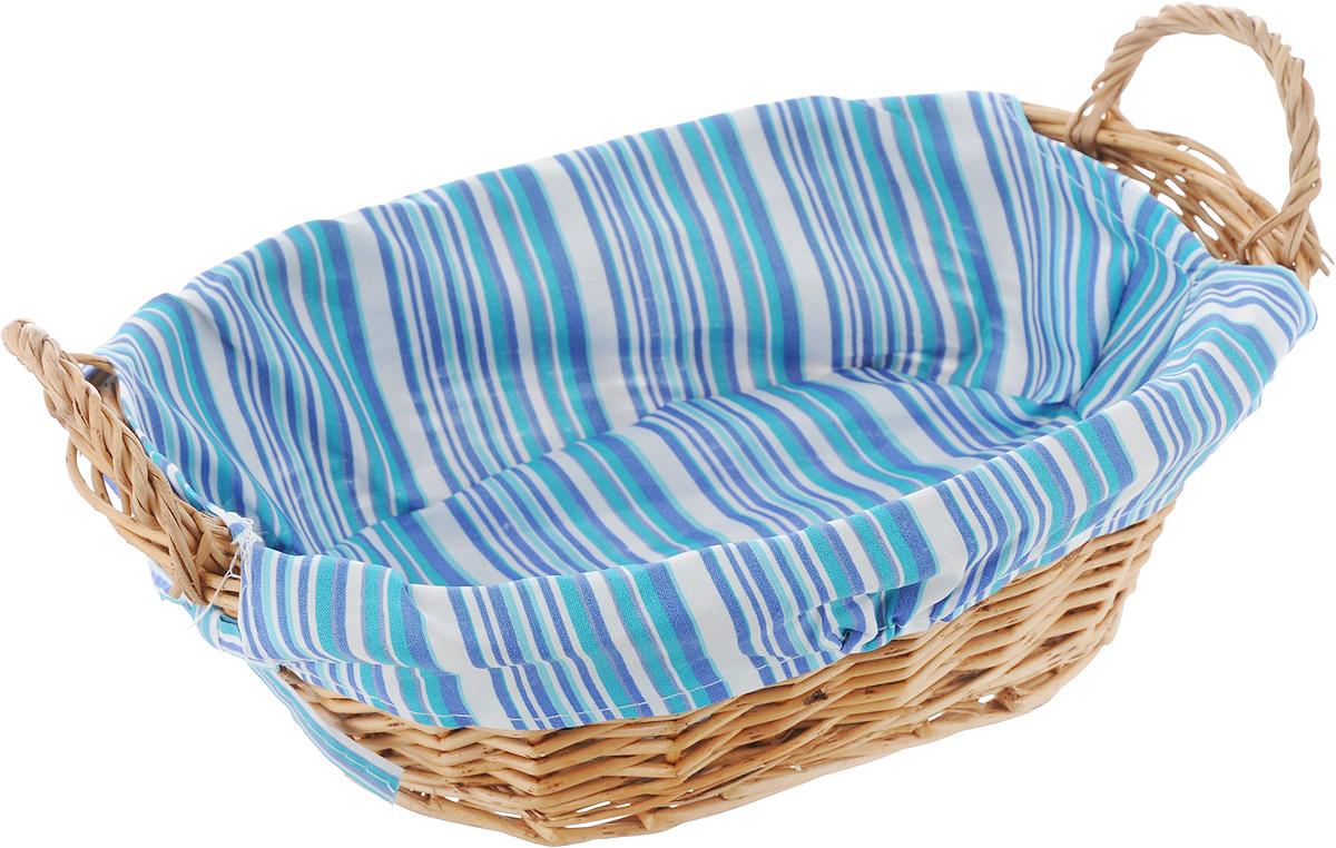 Корзинка для хлеба Kesper, с ручками, цвет: синий, бирюзовый, белый, 32 см х 23 см х 13 см4630003364517Оригинальная корзинка Kesper сплетена из деревянных прутьев. Она предназначена для красивой сервировки хлебобулочной продукции. На внутреннюю поверхность корзинки надет съемный текстильный чехол, благодаря которому крошки не просыпаются на стол. Корзинка оснащена двумя удобными ручками. Материал чехла: 30% хлопок, 70% полиэстер.