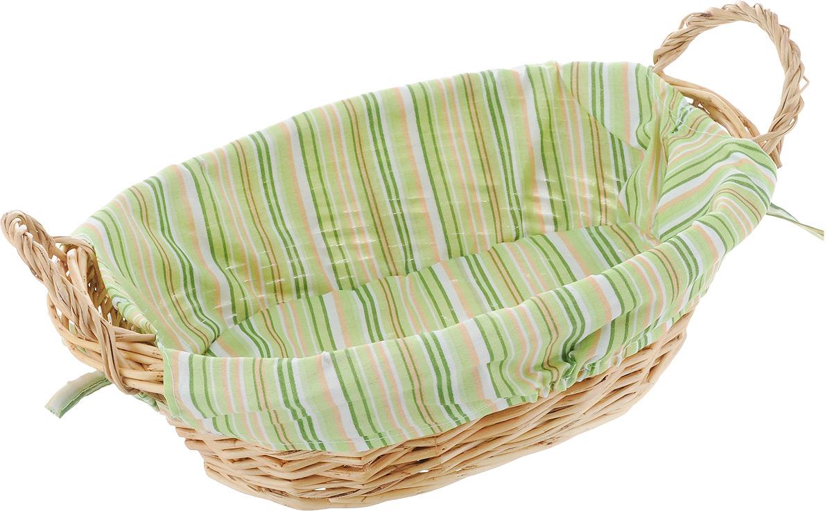 Корзинка для хлеба Kesper, с ручками, цвет: зеленый, оранжевый, салатовый, 32 см х 23 см х 13 смKYS-333DОригинальная корзинка Kesper сплетена из деревянных прутьев. Она предназначена для красивой сервировки хлебобулочной продукции. На внутреннюю поверхность корзинки надет съемный текстильный чехол, благодаря которому крошки не просыпаются на стол. Корзинка оснащена двумя удобными ручками. Материал чехла: 30% хлопок, 70% полиэстер.