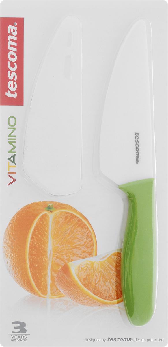 Нож керамический Tescoma Vitamino, с чехлом, длина лезвия 12 см115510Нож Tescoma Vitamino с керамическим лезвием отлично подходит для повседневного использования. Керамическое лезвие бережно относится к нарезаемым продуктам, овощи и фрукты не вянут, не темнеют, продукты не изменяют вкус и запах и дольше сохраняют свежесть. Закругленный кончик устойчив к повреждениям. Пластиковая ручка имеет нескользящую поверхность. В комплект входит защитный чехол для безопасного хранения.Можно мыть в посудомоечной машине.Общая длина ножа: 23 см.Длина лезвия: 12 см.