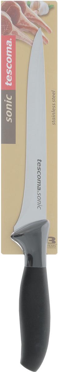 Нож для отделения костей Tescoma Sonic, длина лезвия 16см862037Нож Tescoma Sonic предназначен для отделения костей. Лезвие ножа выполнено из высококачественной нержавеющей стали, а эргономичная ручка из прочного пластика. После использования вымыть и высушить, хранить в недоступном для детей месте. Можно мыть в посудомоечной машине.Длина лезвия: 16 см.Общая длина ножа: 28,5 см.