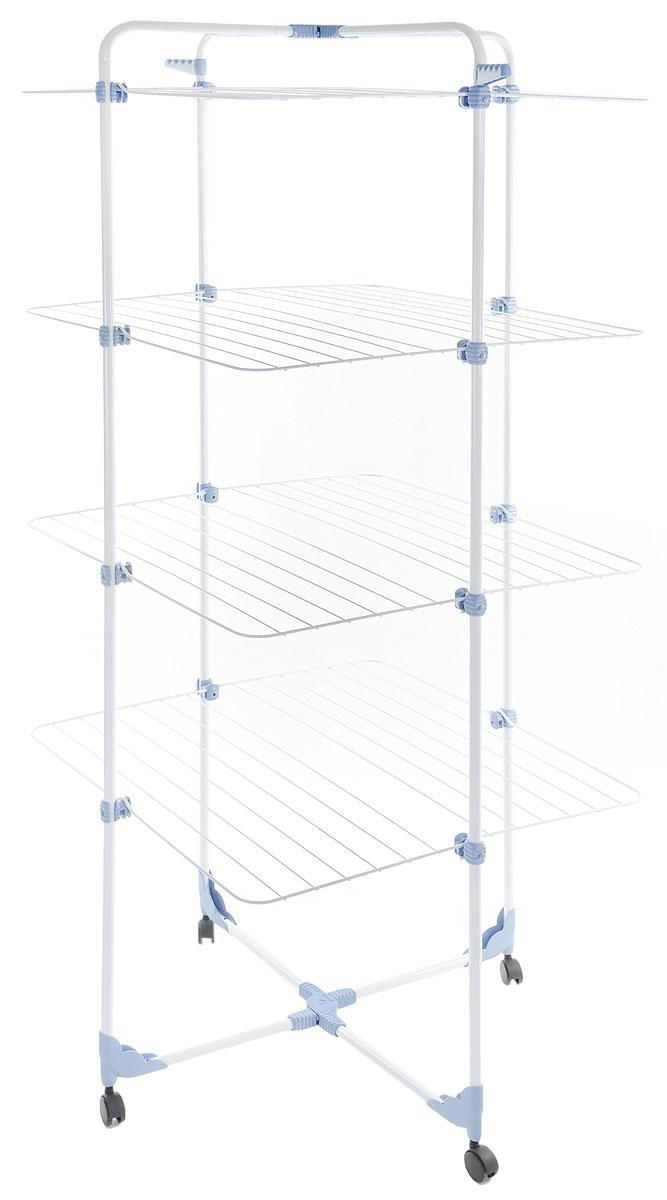 Сушилка для белья Gimi Modular 4, напольная, цвет: белый, синий, 71 x 71 x 169 смGC020/00Напольная сушилка для белья Modular 4 позволит вам разместить большое количество белья, не загромождая пространство в вашей квартире. Вертикальная сушилка снабжена специальным шарниром, благодаря которому ее можно использовать в полностью раскрытом состоянии, либо в полусложенном виде - в зависимости от количества белья. Сушилка оснащена четырьмя полками, двумя кронштейнами для плечиков и четырьмя колесиками.Будет удобна в использовании на открытом воздухе и в душевой кабине.Размер рабочей поверхности 40 м.Размер сушилки раскрытом виде: 71 х 71 х 169 см.Размер сушилки в сложенном виде: 168 х 70 х 5 см.