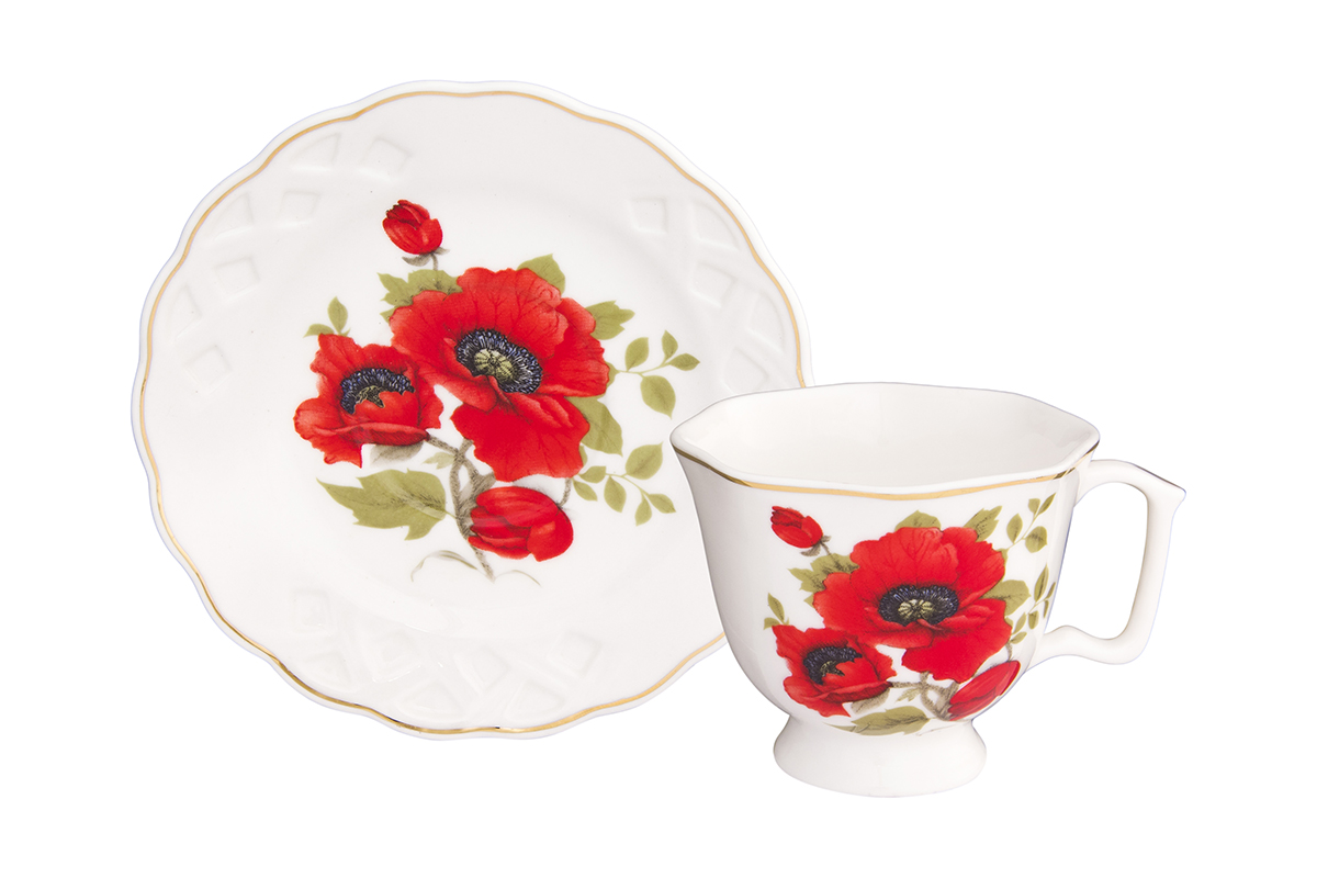 Кофейная пара Elan Gallery Маки, 2 предмета, 100 млVT-1520(SR)Кофейный набор на одну персону Elan Gallery Маки понравится любителям кофе. В комплекте 1 чашка объемом 100 мл, 1 блюдце. Изделие станет желанным подарком для Ваших близких!