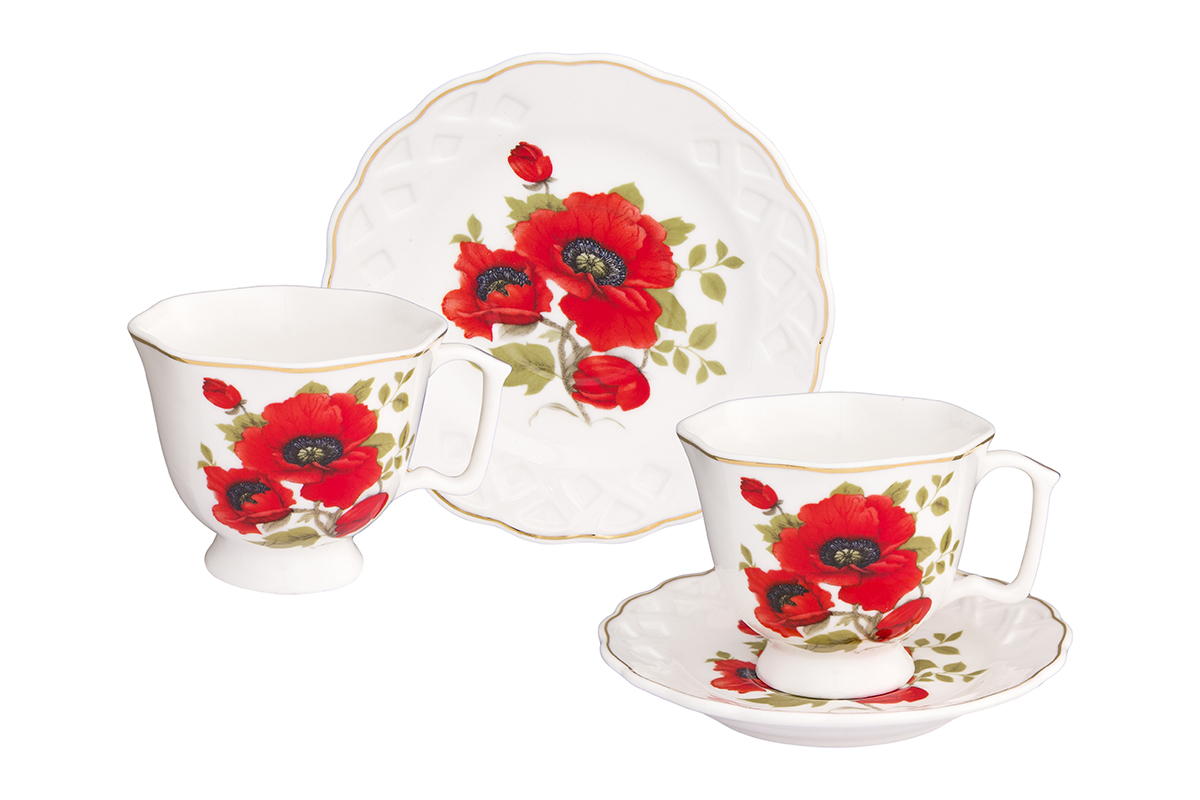 Кофейная пара Elan Gallery Маки, 4 предмета, 100 млVT-1520(SR)Кофейный набор на 2 персоны понравится любителям кофе. В комплекте 2 чашки объемом 100 мл, 2 блюдца. Изделие имеет подарочную упаковку, поэтому станет желанным подарком для Ваших близких!