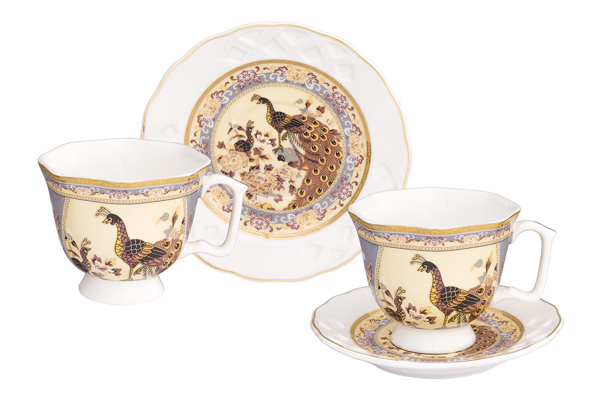 Кофейная пара Elan Gallery Павлин на бежевом, 4 предмета, 100 мл115510Кофейный набор на 2 персоны понравится любителям кофе. В комплекте 2 чашки объемом 100 мл, 2 блюдца. Изделие имеет подарочную упаковку, поэтому станет желанным подарком для Ваших близких!