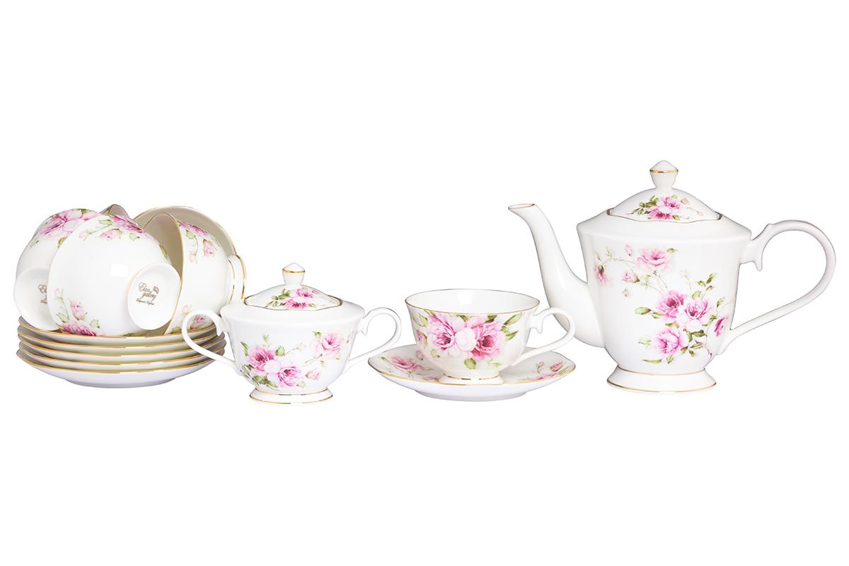Чайный набор Elan Gallery Амалия, 14 предметовVT-1520(SR)Изысканный чайный набор с цветочным декором на 6 персон украсит Ваше чаепитие. В комплекте 6 чашек объемом 220 мл, 6 блюдец, сахарница объемом 350 мл, чайник объемом 1 л. Изделие имеет подарочную упаковку, поэтому станет желанным подарком для Ваших близких! Соберите всю коллекцию предметов сервировки Амалия и Ваши гости будут в восторге!