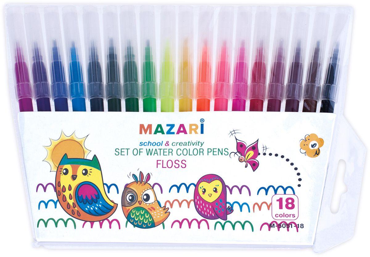 Mazari Набор фломастеров Floss 18 цветов72523WDЯркий и практичный набор фломастеров Mazari Flossс продуманной палитрой цветов, непременно понравится вашему юному художнику. В наборе 18 разноцветных фломастеров. Корпус фломастера из пластика предохраняет чернила от преждевременного высыхания, а вентилируемый колпачок гарантирует длительный срок службы.